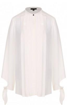 Шелковая блуза с воротником-стойкой и плиссированной отделкой