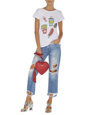 Укороченные джинсы с прорехами