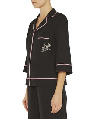 Рубашка в пижамном стиле с вышивкой