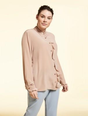 Шелковая блуза с воланами