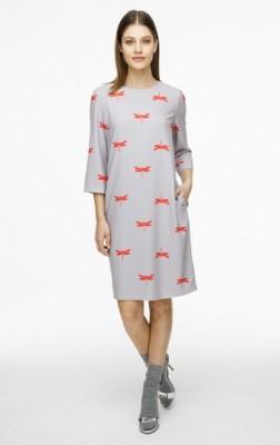 Мини-платье с круглым вырезом и принтом