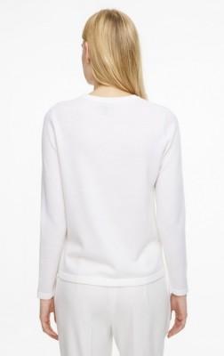 Шерстяной пуловер с круглым вырезом и декоративной отделкой