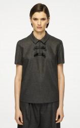Блуза из смеси шерсти и кашемира с коротким рукавом
