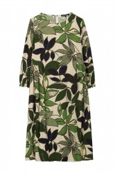 Платье с принтом в виде листьев