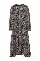 Платье миди с анималистичным  микро-принтом