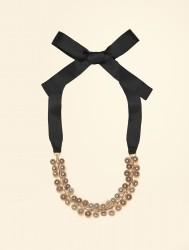Ожерелье из металла с кристаллами на ленте