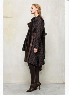 Платье-рубашка с принтом в елочку