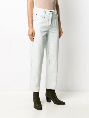 укороченные джинсы с завышенной талией
