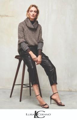 Зауженные брюки из искусственной кожи